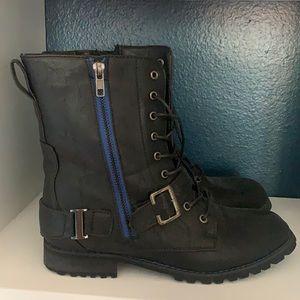 Blue Black Moto Combat Boots 8